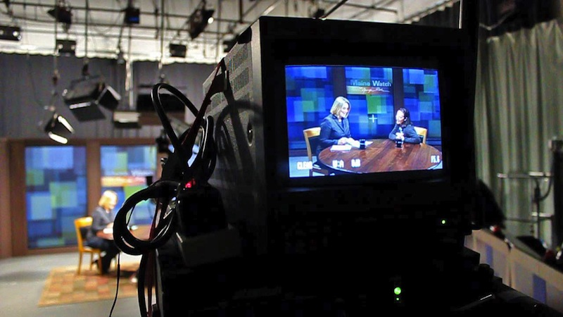 "In this April 2012 file photo, Maine Public Broadcasting Network's ""Maine Watch"" is taped at their television studio in Lewiston. Up to 10 employees of MPBN will lose their jobs as state and federal money is cut, and ""Maine Watch"" is going on hiatus."