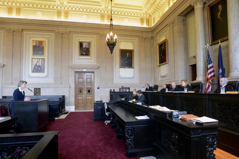 Assistant Attorney General Phyllis Gardiner addresses the Maine Supreme Judicial Court as it hears arguments Thursday in a case brought by the anti-gay-marriage group National Organization for Marriage, which is seeking to overturn a lower court's ruling that it has to release the identity of its donors.