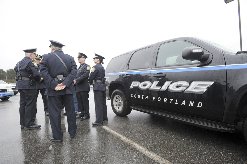 South Portland police officers were among law enforcement officials from across Maine to assemble at Cabela's in Scarborough on Wednesday for the drive to Cambridge, Mass., to honor Sean Collier, a Massachusetts Institute of Technology campus police officer who police believe was slain by the suspects in the Boston Marathon bombings.