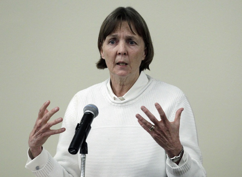 "In this April 26, 2013 file photo, Judy Clarke, a defense lawyer whose high-profile clients include ""Unabomber"" Ted Kaczynski, Olympic bomber Eric Rudolph, and Tucson shooter Jared Lee Loughner, speaks at Loyola Law School in Los Angeles. Clarke was appointed Monday, April 29, 2013 to the team representing Dzhokhar Tsarnaev, the suspect in the Boston Marathon bombings. (AP Photo/Reed Saxon, File)"