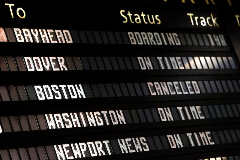 The Amtrak departures board shows a canceled train to Boston at Penn Station, Friday, April 19, 2013 in New York. Mass transit to and from the Boston area was virtually shut down Friday as police conducted a massive manhunt for a suspect in Monday's Boston Marathon bombing. (AP Photo/Jason DeCrow)