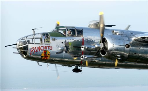 Lt. Col. Dick Cole flies a B-25 in the skies over Destin, Fla., on Tuesday as part of the Doolittle Raider 71st Anniversary Reunion.