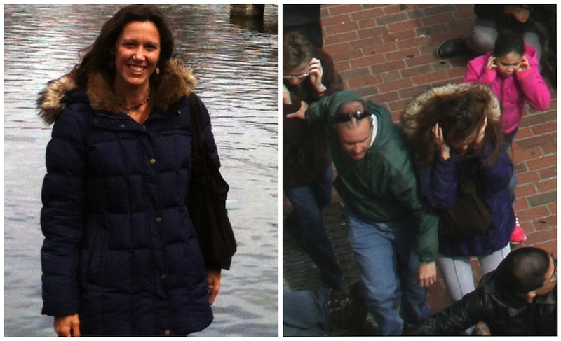 This combination photos shows, left, Amy Berti, in a photo taken by her husband, Joe Bertie in Boston, on Sunday, April 14, 2013, and right, an Associated Press file photo that shows Amy Berti, center, in the same coat, running from the first explosion at the finish line of the Boston Marathon on Monday, April 15, 2013. A bomb exploded at the finish line of the Boston Marathon seconds after Amy's husband, Joe Berti, finished the race. Two days later, Joe Berti was in his home state of Texas when he saw a fertilizer plant explode near Waco. (AP Photo)