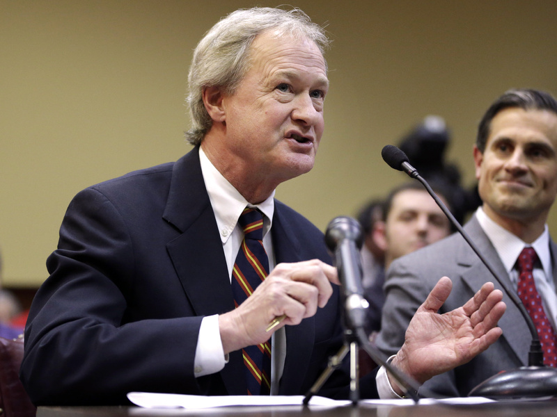 Rhode Island Gov. Lincoln Chafee testifies in support of same-sex marriage before the state's House Judiciary Committee in January.