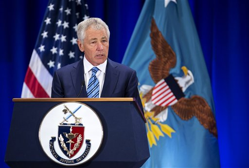 """Defense Secretary Chuck Hagel speaks at the National Defense University at Fort McNair in Washington on Wednesday. """". . . The military's modernization strategy still depends on systems that are vastly more expensive and technologically risky than what was promised or budgeted for."""""""