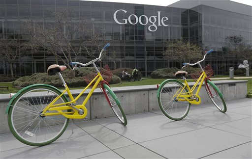 Two of the more than 1,000 bicycles Google provides employees on its Mountain View, Calif., campus.