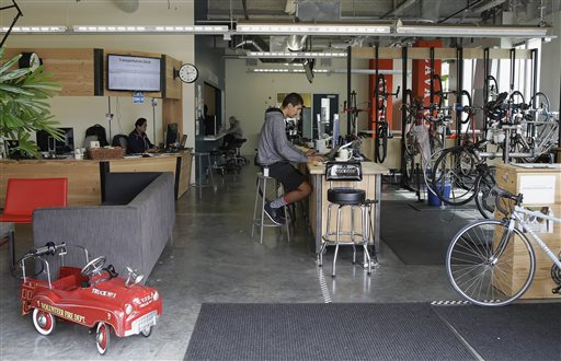 The Hub bicycle shop and transportation center on the Facebook campus in Menlo Park, Calif.