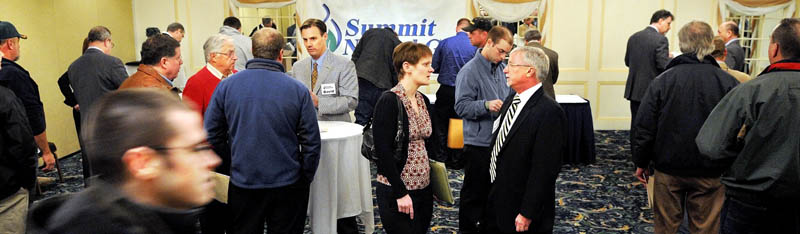 Job seekers attend the job fair Wednesday for Summit Natural Gas in Augusta.