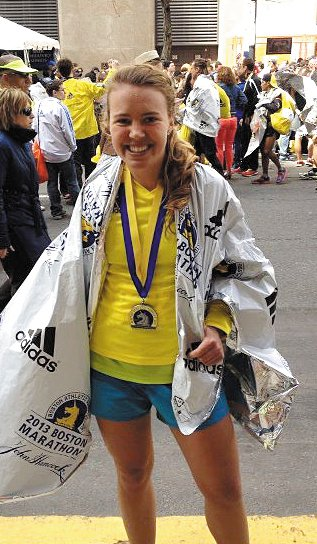 Anna Ackerman, of Augusta, completed her first Boston Marathon, and second marathon, in 3 hours, 8 minutes on Monday.