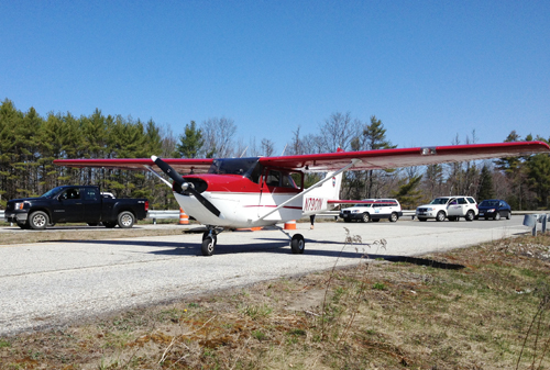 A Cessna plane owned by the state Department of Inland Fisheries and Wildlife made an emergency landing this morning at a rest area off Interstate 95 in Litchfield. No one was injured, police said.