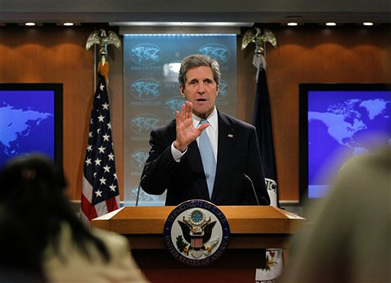 Secretary of State John Kerry speaks at the State Department in Washington on Friday, where he released the 2012 Country Reports on Human Rights Practices, commonly known as the Human Rights Reports, cover the status of human rights in countries around the world.