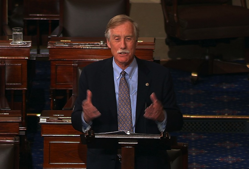 This video frame grab provided by Senate Television shows Sen. Angus King, I-Maine speaking on the floor of the Senate on Capitol Hill in Washington, Wednesday, April 24, 2013. (AP Photo/Senate Television)