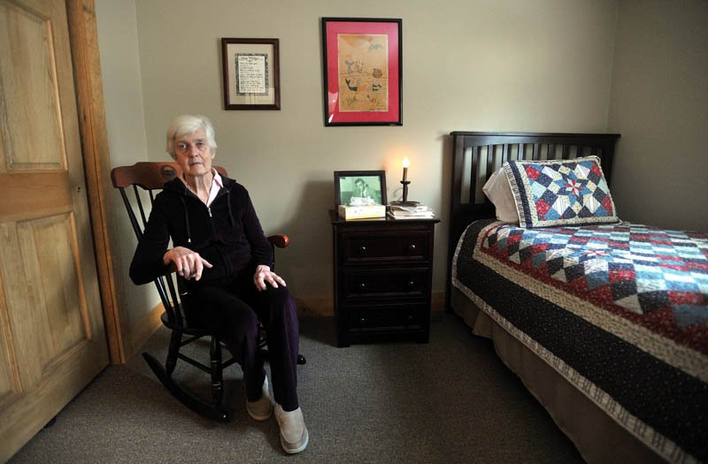 Martha Fabian sits in her room at Bedside Manor on Belgrade Road in Oakland on Wednesday.