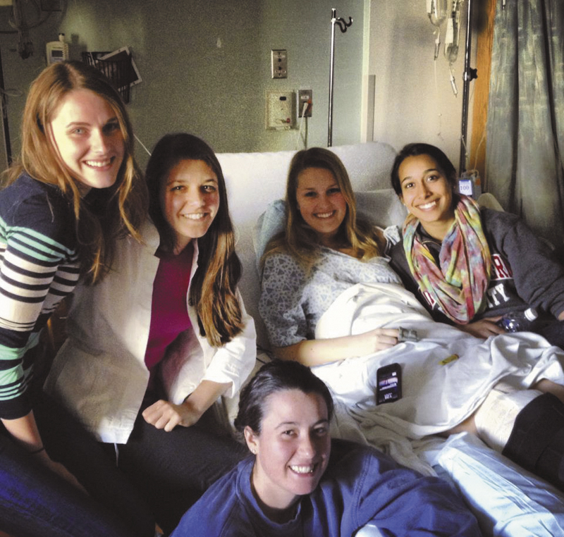 Northeastern University student Sarah Girouard, a 2010 graduate of Falmouth High School, was treated at Tufts Medical Center after being injured by the bombings at the Boston Marathon on Monday. Girouard's right leg was injured by shrapnel, but she is expected to recover in a few months.