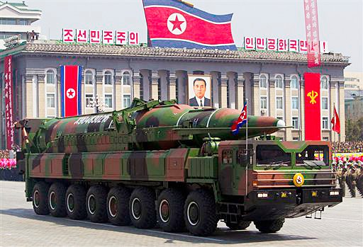 "In this April 15, 2012, photo, a North Korean vehicle carrying a missile during a mass military parade in Pyongyang's Kim Il Sung Square to celebrate the centenary of the birth of the late North Korean founder Kim Il Sung. North Korea has moved a missile with ""considerable range"" to its east coast, South Korea has confirmed."