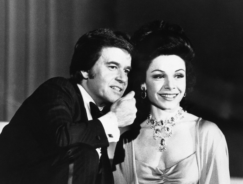 """In this January 1978 file photo, executive producer Dick Clark welcomes former """"Mouseketeer"""" Annette Funicello to the party when ABC-TV presents """"ABC's Silver Anniversary Celebration,"""" a gala four-hour telecast. Walt Disney Co. says, Monday, April 8, 2013, that Funicello, also known for her beach movies with Frankie Avalon, has died at age 70. (AP Photo/File)"""
