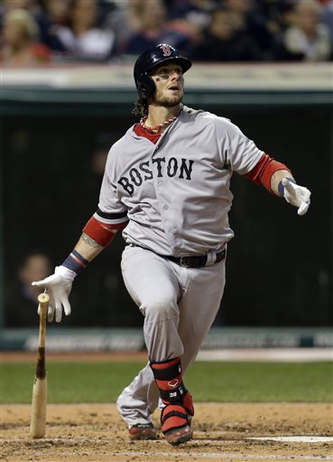 Boston Red Sox's Jarrod Saltalamacchia watches his solo home run off Cleveland Indians starting pitcher Zach McAllister in the fourth inning of a baseball game Thursday, April 18, 2013, in Cleveland. (AP Photo/Mark Duncan) Progressive Field