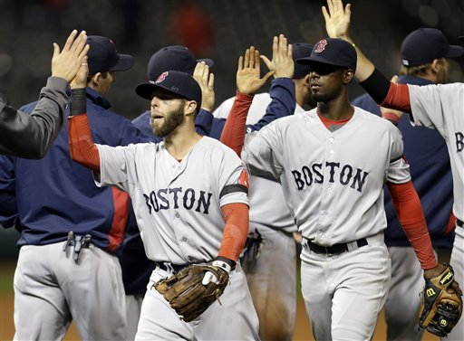 Boston Red Sox's Dustin Pedroia, left, and Jackie Bradley Jr. celebrate after a 7-2 win over the Cleveland Indians in a baseball game Tuesday, April 16, 2013, in Cleveland. (AP Photo/Mark Duncan) Progressive Field