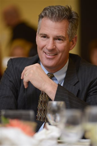 """Former U.S. Sen. Scott Brown of Massachusetts appears at the annual """"Keeping the Dream Alive"""" dinner commemorating the anniversary of Martin Luther King Jr.'s death on Thursday in Nashua, N.H."""