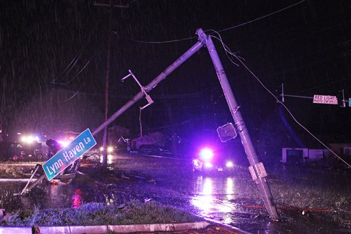 Damage caused by high winds in Hazelwood, Mo., late Wednesday evening.