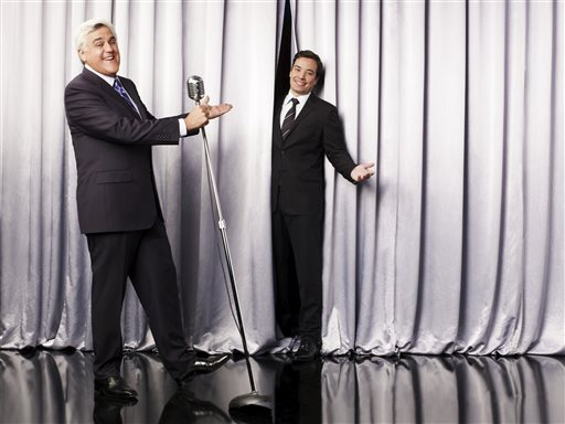 """This undated promotional image released by NBC shows Jay Leno, host of """"The Tonight Show with Jay Leno,"""" left, and Jimmy Fallon, host of """"Late Night with Jimmy Fallon,"""" in Los Angeles."""