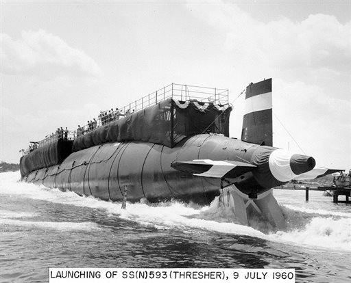 The nuclear-powered submarine USS Thresher is launched at the Portsmouth Naval Shipyard in Kittery, Maine, in this July 9, 1960, photo.