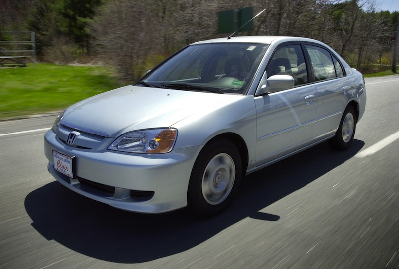 A Honda Civic Hybrid is shown in Saco in 2002. More than 1 million vehicles in North America are part of a recall.