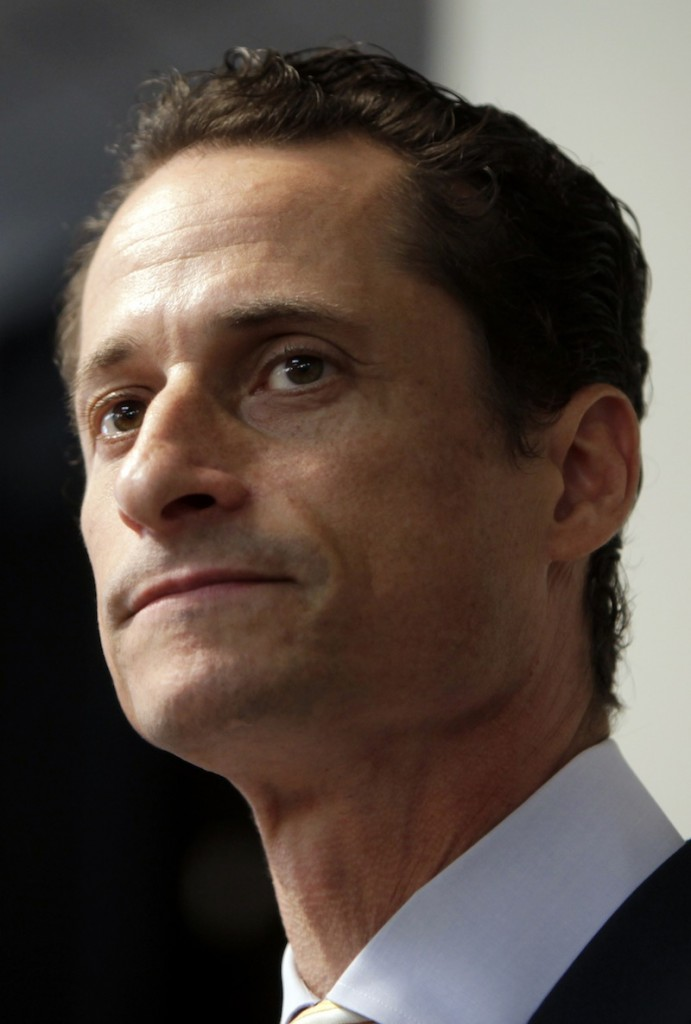 """In a June 16, 2011 file photo, Anthony Weiner speaks to the media during a news conference in New York. Former U.S. Rep. Weiner, who resigned over a sexting scandal in 2011, says he's weighing a run for New York City mayor this year. The Democrat tells New York Times Magazine """"it's now or maybe never for me."""" But he acknowledges that it's a long shot because some people """"just don't have room for a second narrative about me.""""He says he doesn't know when he'll decide on entering the race, and concedes he'd be an underdog. (AP Photo/Seth Wenig, File)"""
