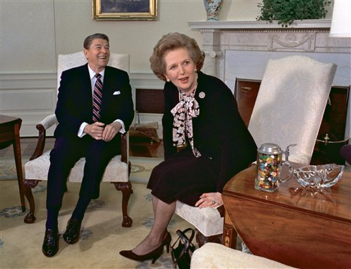 In this Feb. 20, 1985 file photo, former British Prime Minister Margaret Thatcher meets with her friend and political ally President Ronald Reagan during a visit to the White House in Washington. Thatcher, who led Britain for 11 years, died of a stroke Monday morning, April 8, 2013. (AP Photo/J. Scott Applewhite, file)
