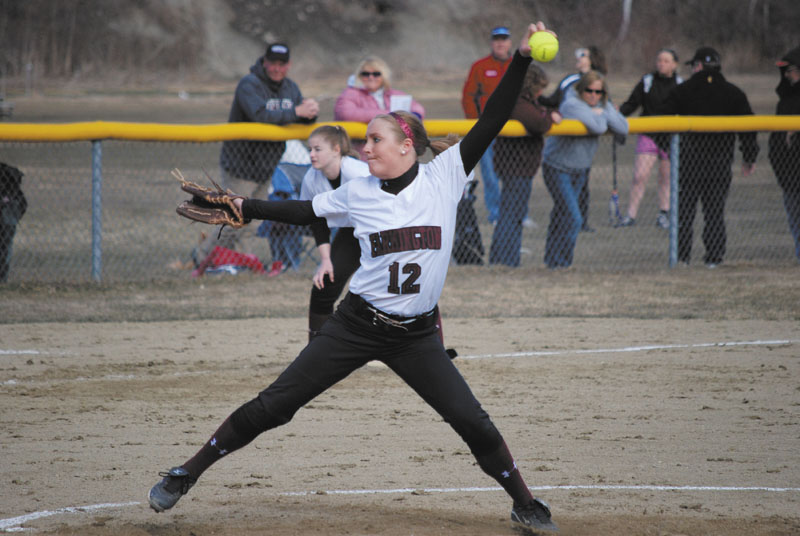 TOUGH IN THE CIRCLE: Cony High School graduate Emily Soule did not expect to pitch at the University of Maine at Farmington, but has become the team's ace. She is 6-3 with a 1.92 ERA this spring.