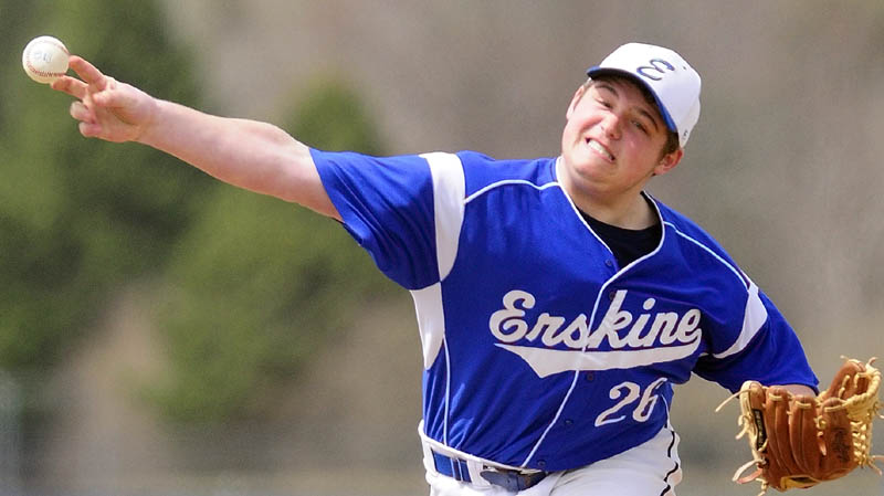 AND THE PITCH: Erskine Academy pitcher Jake Rideout delievers a pitch during the Eagles' 9-1 loss to Cony on Friday at Erskine Academy's Caswell Field in South China.