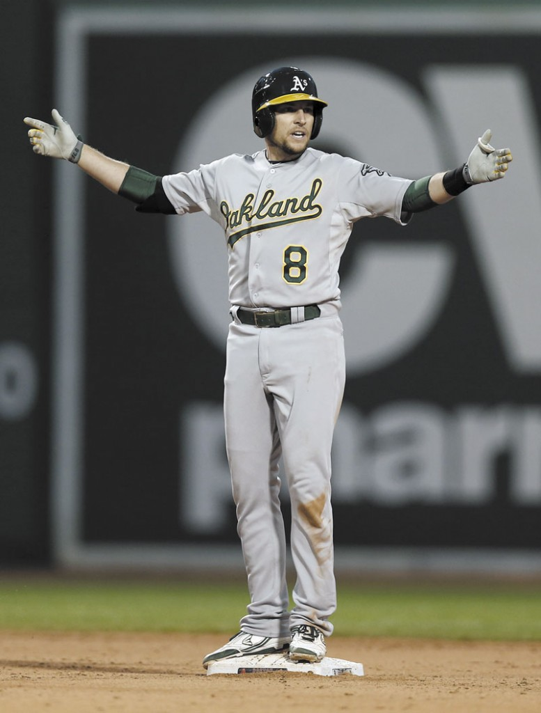 FAMILIAR FACE: Jed Lowrie was one of three former Portland Sea Dogs to face the Boston Red Sox as members of the Oakland A's this week. Brandon Moss and Josh Reddick were the others.