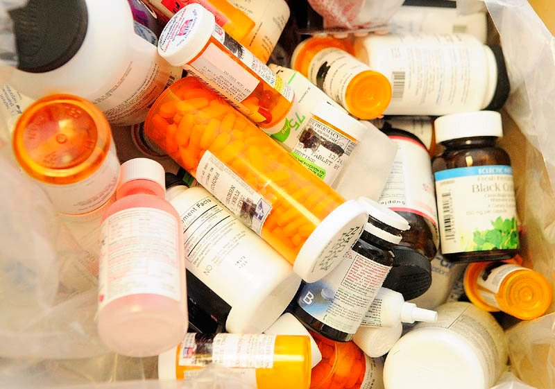 These are some of the three boxes of medicines that Gardiner Police Sgt. Todd Pillsbury collected during annual drug take back event on Saturday at Gardiner Police station.