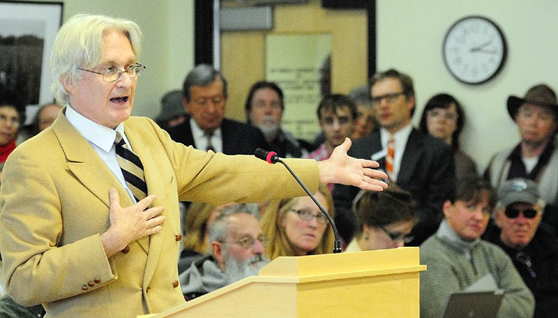 Dr. Micheal Hansen, of Consumers Union, testifies in favor of LD 718, An Act to Protect Maine Food Consumers' Right to Know About Genetically Engineered Food and Seed Stock, before the Joint Standing Committee on Agriculture, Conservation and Forestry on Tuesday April 23, 2013 in the Cross State Office Building in Augusta.