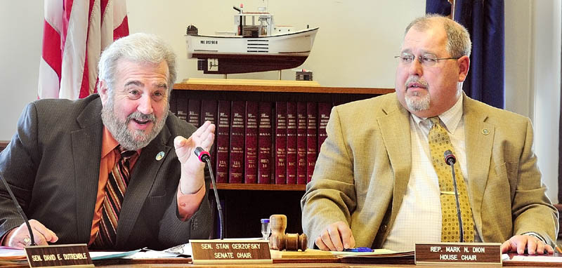 Criminal Justice Committee co-chairs Sen. Stan Gerzofsky, D-Brunswick, left, and Rep. Mark Dion, D-Portland, seen at a work session on Friday at the State House in Augusta.