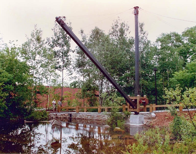 This undated photo shows a crane, that was used in a Hallowell granite quarry, when it was on display in Augusta. There are plans to install it at a waterfront park in Hallowell.