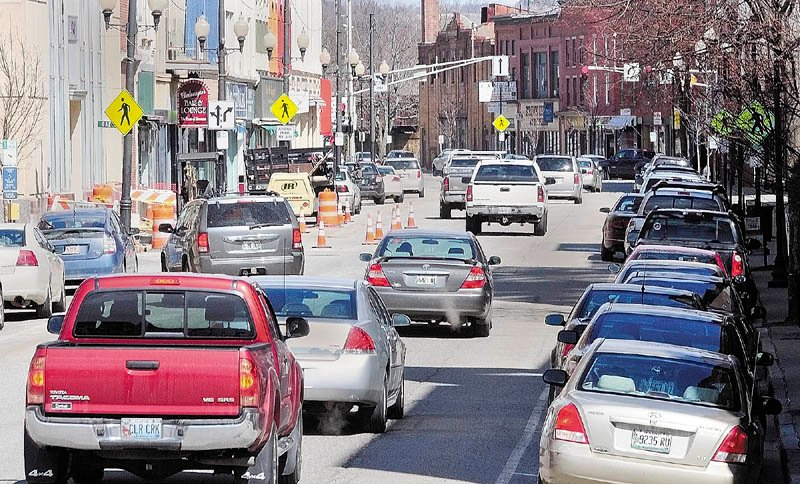 Water Street traffic is currently one way to the north, as this photo taken on Tuesday in downtown Augusta, shows.