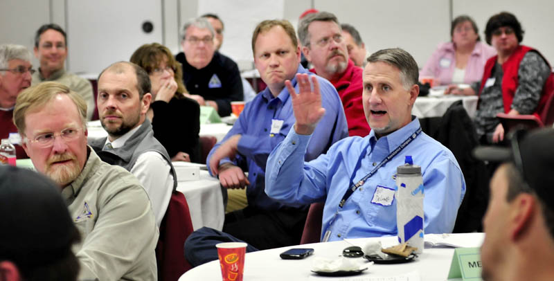 Bill Delong of the Maine Emergency Management Association makes a point during a training exercise program with Franklin County first-responders at the University of Maine in Farmington on Thursday.