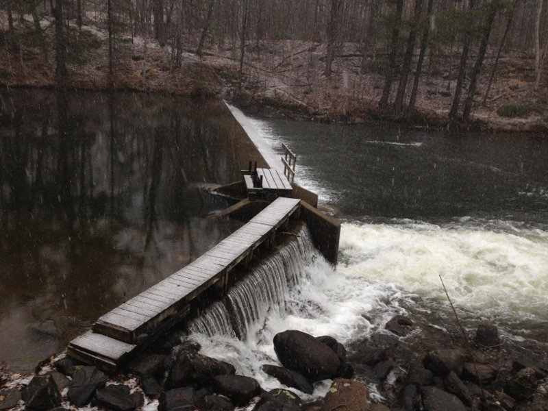 The Martin R. Hovey Memorial Dam in East Monmouth, on Jug Stream near Annabessacook Lake, where state police recovered the body of Romeo Parent, 20, on Friday.