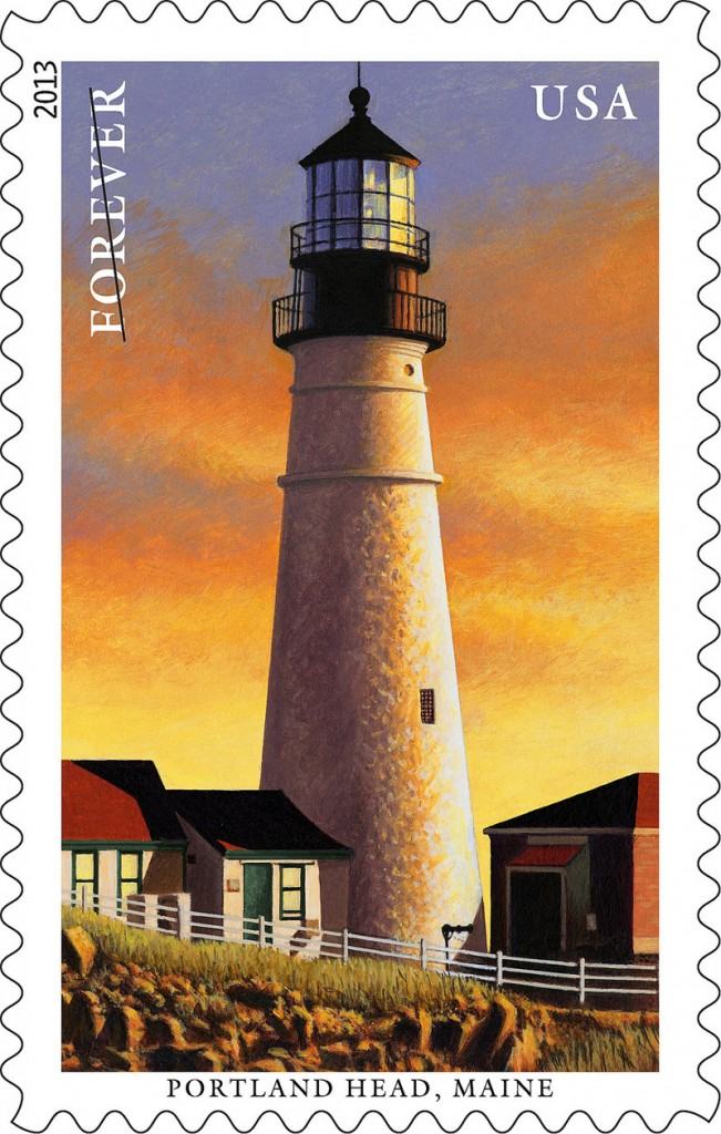 The Portland Head Light in Cape Elizabeth is one of five New England beacons to appear on postage stamps based on paintings by Howard Koslow of Toms River, N.J. The U.S. Postal Service plans to release the Portland Head stamp on July 13.