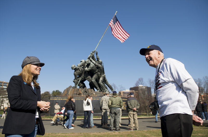Maine state Rep. Lisa Villa, D-Harrison, talks Sunday with World War II veteran Bill Quackenbush, of Litchfield, at the Iwo Jima Memorial in Arlington, Va. Quackenbush served as a gunner's mate on a transport used by the Navy in the Normandy invasion.