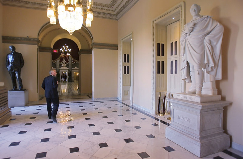 "The senator strolls past a larger-than-life statue of William King – Maine's first governor – in the Capitol's Statuary Hall on Thursday. For an unabashed student of history, there simply is no better place on Earth to report for work each day. Says the 69-year-old senator: ""The circumstances call forth the energy."""