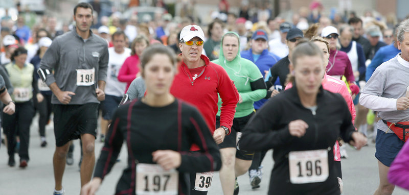 The 84th Boys and Girls Club Patriots Day 5-mile road race in Portland had 372 finishers this year, down slightly from last year's total of 407. The race is the oldest in Maine and one of the oldest in the nation.