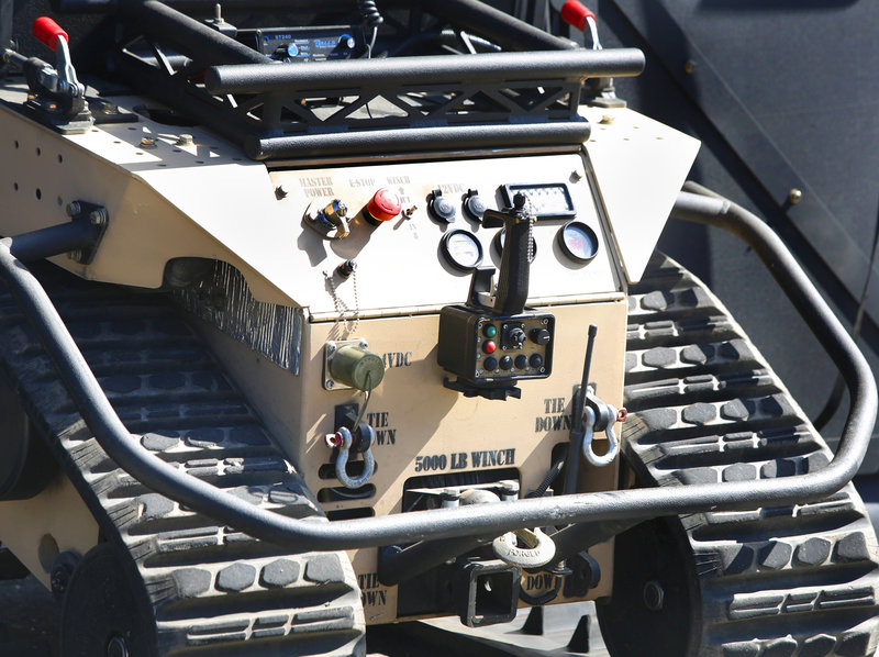 "The controls, including the remote control, on the ""SWAT Bot"" at the Sanford Police Department on April 18, 2013. The ""Swat Bot"", built by Howe and Howe Technologies, is the world's first remote tactical approach vehicle."