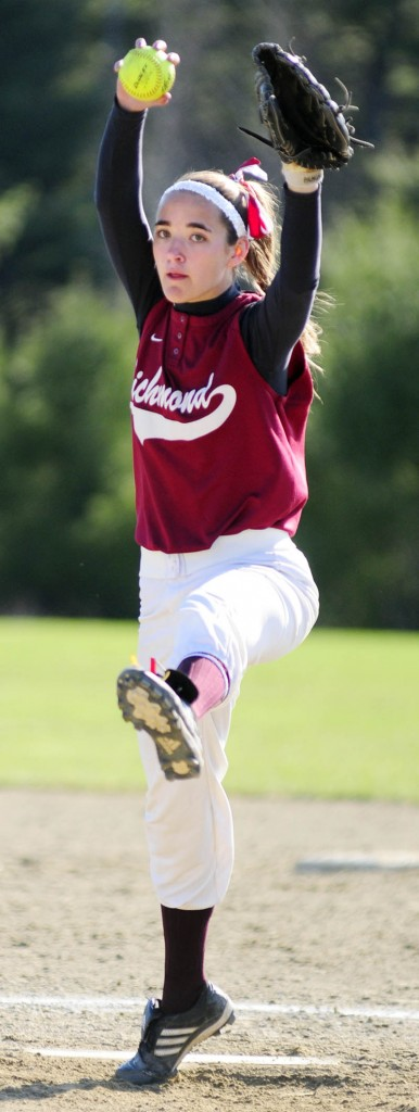 THE WINDUP: Richmond's Jamie Plummer gets ready to throw a pitch against Rangeley on Friday in Richmond.
