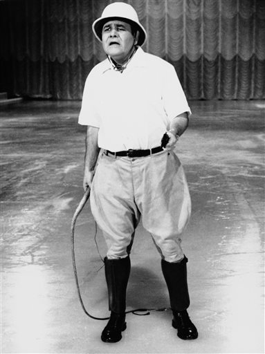 "A 1967 photo of Jonathan Winters hosting ABC's ""Holiday on Ice."""