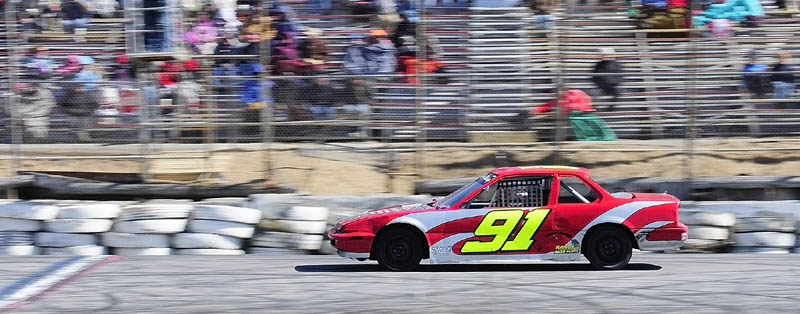 Jamie Heath, of Waterford, wins the Thunder Four feature race on the first day of the 2013 racing season on Saturday April 6, 2013 at Wiscasset Speedway.