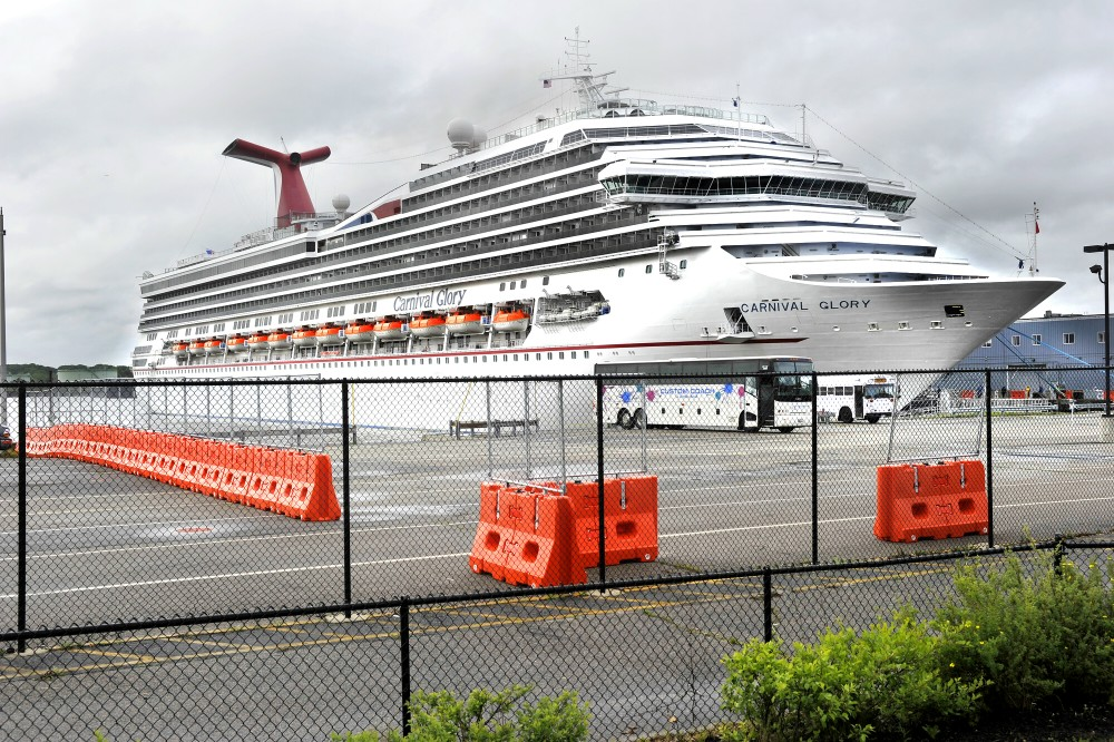(FILE) The Carnival Glory cruise ship, docked at Portland's Maine State Pier in June 2012.