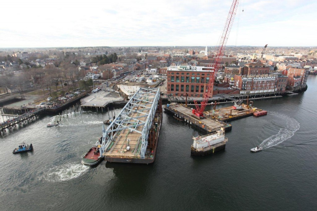 In this January 15, 2013 photo, the 1st section of the new Memorial Bridge is floated out into the Piscataqua River from the Portsmouth waterfront.