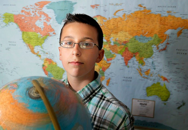 Archer Thomas, 13, an eighth-grader at Bonny Eagle Middle School, poses for a portrait in his Buxton home Friday, May 17, 2013. Thomas competed in the National Geography Bee in Washington, D.C.